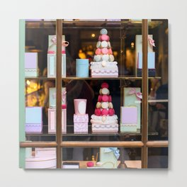 Beautiful colorful tasty macaroons cakes sweets and presents in the boxes display in window at the  Metal Print