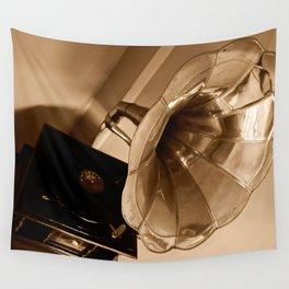 Antique Vintage Gramophone Gifts Music Lovers Wall Tapestry