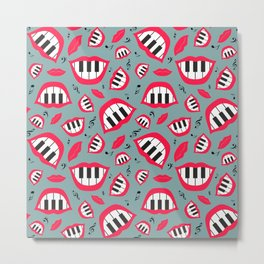 Piano smile pattern in grey&red Metal Print