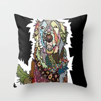 golden retriever Throw Pillows featuring Golden Retriever by Carsick T-Rex