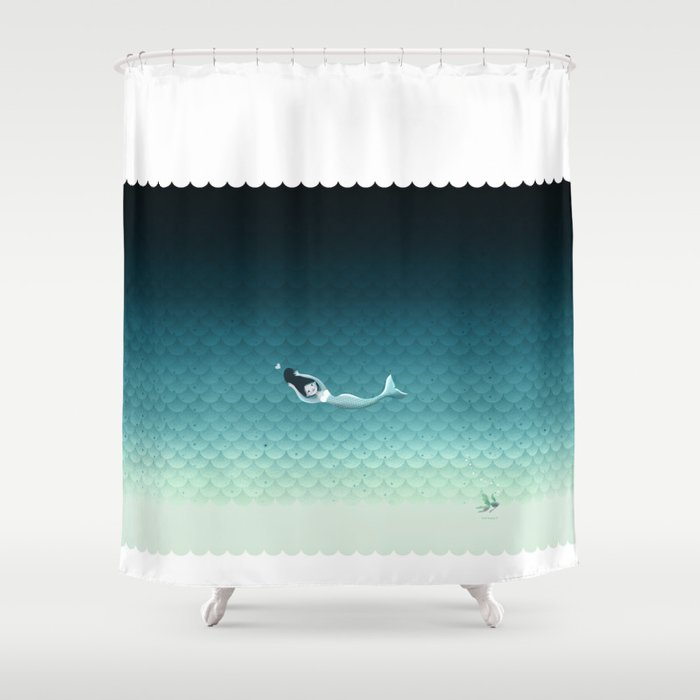 Suomu Blue mermaid scale pattern with a horizontal mermaid Shower curtain or Duvet cover Shower Curtain