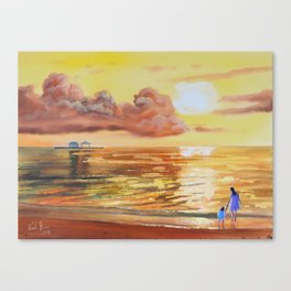 Mother and Daughter sunset seascape Canvas Print