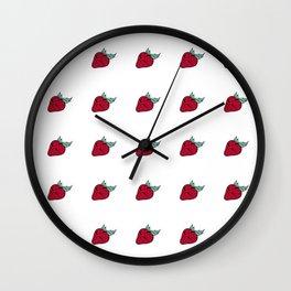 Strawsberry summer pattern Wall Clock