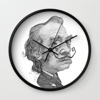 salvador dali Wall Clocks featuring Salvador Dali by Stavros Damos