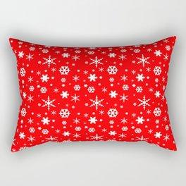 Aurora Red and White Winter 2016 Snowflakes Pattern Rectangular Pillow