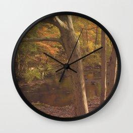 New England Fall Woods Wall Clock