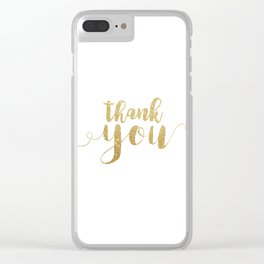 Thank You | Gold Glitter Clear iPhone Case