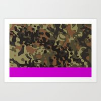 david fleck Art Prints featuring Magenta Fleck Tarn Camo by Derek Boman