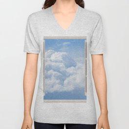 Blue and White Cumulonimbus Clouds Unisex V-Neck