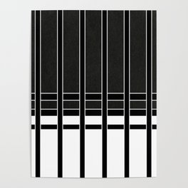 Modern Minimalist Black and White Stripes Poster