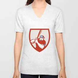 Baseball Player Batter Hitter Shield Retro Unisex V-Neck