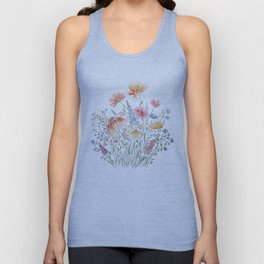 wild flower bouquet and blue bird- ink and watercolor 2 Unisex Tank Top