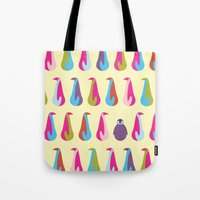 penguins Tote Bags featuring Penguins by Dana Martin