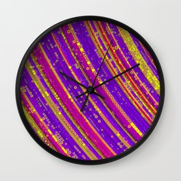 rhys - bright abstract design of hot pink grape purple and gold Wall Clock