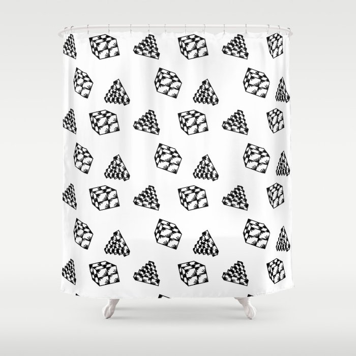 the pyramid and the cube . just elementary . Shower Curtain