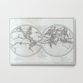 Vintage Northern and Southern World Hemisphere Map Metal Print