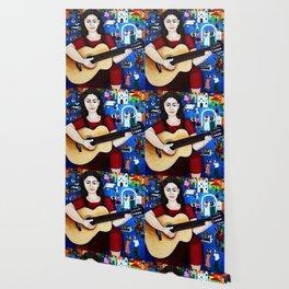 Violeta Parra and her guitar Wallpaper