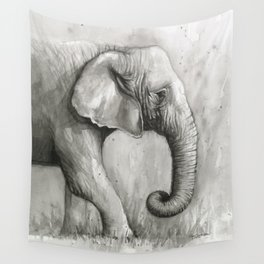 Elephant Black and White Watercolor Wall Tapestry
