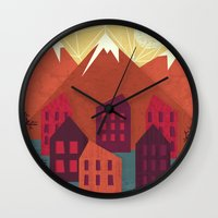 mountains Wall Clocks featuring Mountains by Kakel