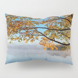 Autumn bench by the lake Pillow Sham