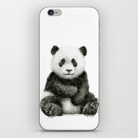 Panda Baby Watercolor Animal Art iPhone & iPod Skin
