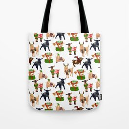 Christmas goats in sweaters repeating seamless pattern Tote Bag