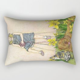 Girl with Daffodils: Don't Forget Me.  Rectangular Pillow
