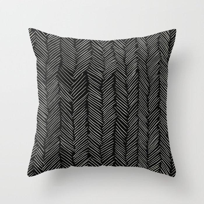 Herringbone Cream on Black Throw Pillow