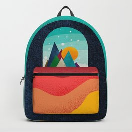 056 little owl travels the colored sunny landscape Backpack