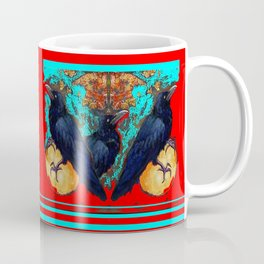 Crow-Ravens Family Red Southwest Style Abstract Coffee Mug