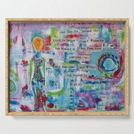 """Rearranged"" Original Mixed Media Acrylic Painting by Toni Becker, Artfully Healing Serving Tray"
