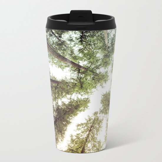 Green Forest Sky Trees Metal Travel Mug