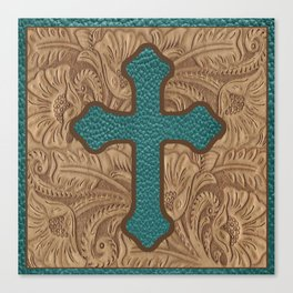 Western Faux Tooled Leather Cross Teal Turquoise Brown Canvas Print
