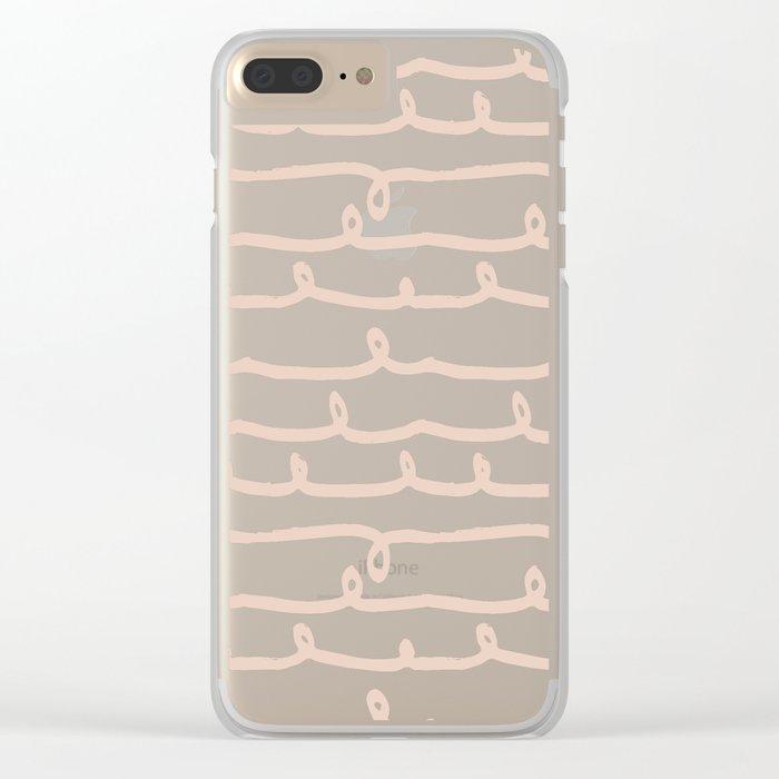 Vine Stripes Vintage Pink on Rose Petal Cream Clear iPhone Case