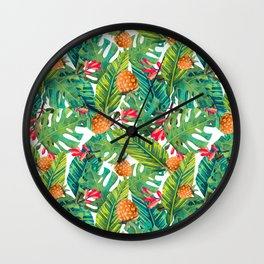 Paradise of pineapples and leaves Wall Clock