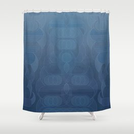 Round and About Blue Gray Shower Curtain