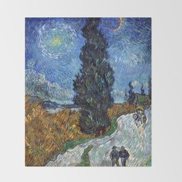 Vincent van Gogh - Road with Cypress and Star Throw Blanket