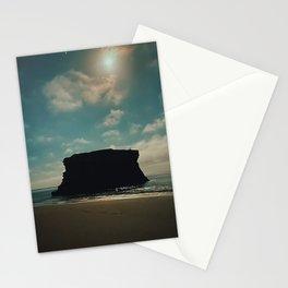 Surreal Cliff against Teal Sky at Santa Cruz Beach Stationery Cards