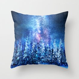 Forest under the Starlight Throw Pillow
