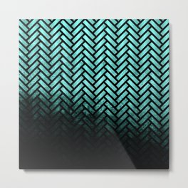 Textured teal and black Herringbone ombre - Japanese pattern Metal Print
