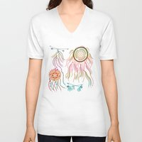 dream catcher V-neck T-shirts featuring Dream Catcher by famenxt