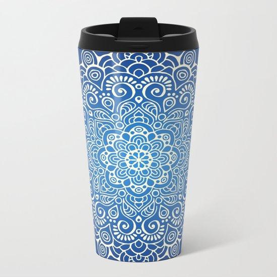 Mandala dark blue Metal Travel Mug