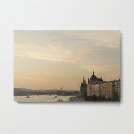 Sun sets over Budapest Metal Print