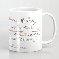 dumbledore Mugs featuring Choices Dumbledore J.K. Rowling Quote by Hayley Lang