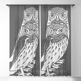TWO OWLS, Black & White Engraving Print Sheer Curtain