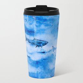 Great white in blue Travel Mug