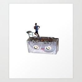 Cassette Tape Running Treadmill Art Print