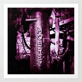 Purple, metal writing Art Print