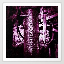Purple, metal writing Art Print
