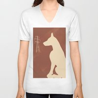 doberman V-neck T-shirts featuring Doberman Dog by ialbert